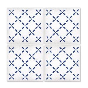 Stickers pour Carrelage de Salle de Bain ou Cuisine Bleu et Blanc Eefje - Set de  4 WADIGA