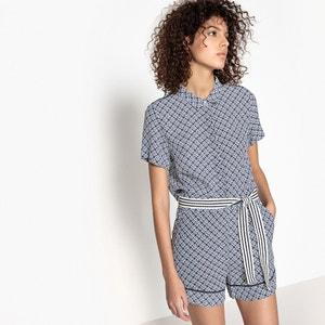 Tatia Printed Belted Playsuit SUNCOO