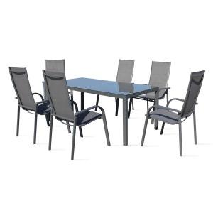 Table de jardin 6 places en aluminium et textilène BOUTIQUE-JARDIN