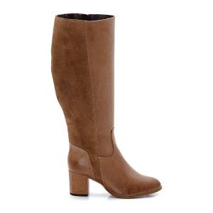Mixed Material Leather Boots CASTALUNA