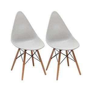 Lot de 2 chaises blanches forme goutte en PVC, métal et pieds en hêtre 45x55xH89cm DROP PIER IMPORT
