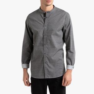 Bedrukt slim hemd met maokraag