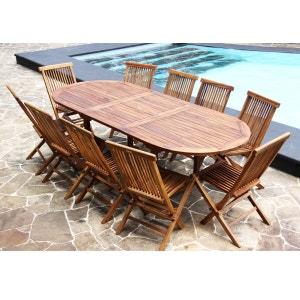 Salon de jardin en bois de Teck Huilé - Table ovale 8/10 personnes + 10 chaises pliantes BOIS DESSUS BOIS DESSOUS