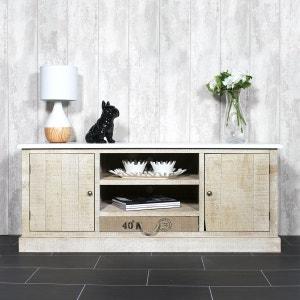 Meuble TV bois massif blanc, 2 portes, 2 niches, 1 tiroir     FCJ12 MADE IN MEUBLES