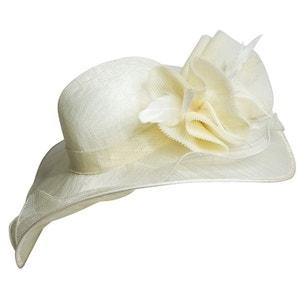 Chapeau de cérémonie blanc cassé Héléna CHAPEAU-TENDANCE