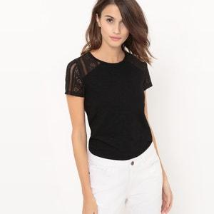 T-shirt de mangas curtas, lisa, com escapulário em renda R édition