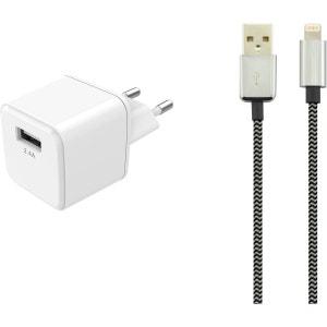 Chargeur secteur USB 2,4A + Cable lightning textile ESSENTIEL B