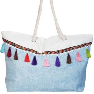 Grand sac de plage bleu CHAPEAU-TENDANCE