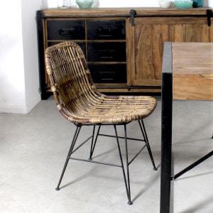 Chaise en rotin brun pieds en métal     VDL MADE IN MEUBLES