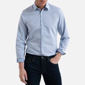 Slim hemd met lange mouwen en stippenprint