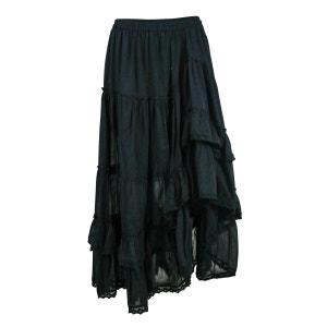 Jupe Longue Coton Unie Noir PALME