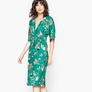 Floral Print Wrapover Midi Dress MADEMOISELLE R