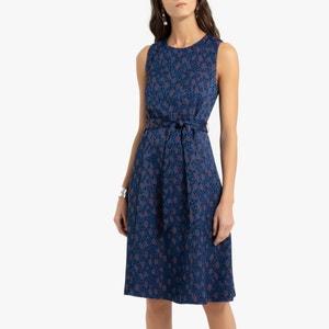 Rechte jurk met dierenprint, halflang