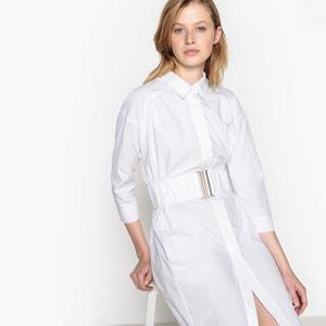 Vestido camisero con cinturón elástico La Redoute Collections
