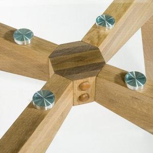 Mesa redonda de cristal y roble Ø130 cm, Kristal AM.PM.