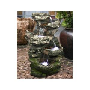 Fontaine de jardin Norfolk rochers avec cascade et éclairage LED UBBINK