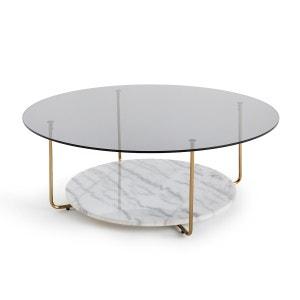 Mesa baja de mármol y vidrio, Moricio