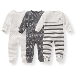 Pijama em algodão estampado, 0-3 anos (lote de 3) R édition