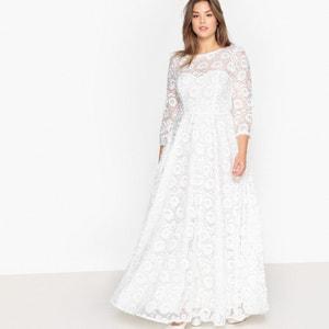 Vestido de noiva, motivo flores, mangas 3/4 CASTALUNA