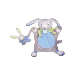 Doudou Marionnette Lapin Bleu 25 cm en microfibre DOUDOU ET COMPAGNIE DOUDOU ET COMPAGNIE