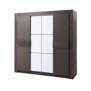 Armoire 4 portes imitation chêne anthracite largeur 220 cm AR4001 TERRE DE NUIT