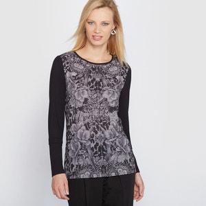 T-shirt imprimé, bi-matière ANNE WEYBURN
