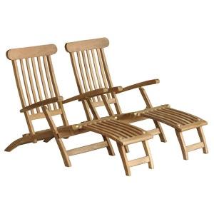 Lot de 2 steamers / Chaises longues en bois de TECK BRUT QUALITE PREMIUM BOIS DESSUS BOIS DESSOUS