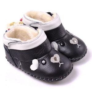 Chaussures premiers pas cuir souple | Montantes noires petite souris CAROCH