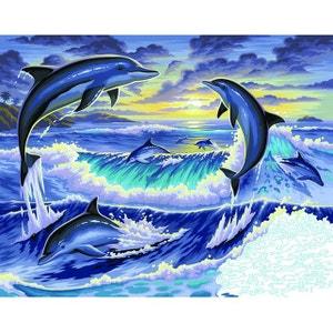 Peinture au numéro Initiés : Dauphins au clair de lune OZ INTERNATIONAL