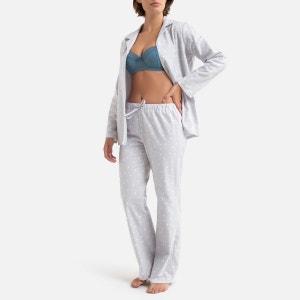 Pijama de dos piezas de algodón con lunares de tejido perchado