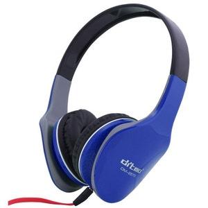 Casque audio anti bruit stereo casque arceau isolation phonique bleu Yonis
