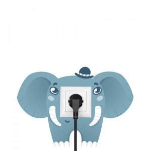 Sticker prise ou interrupteur : Éléphant bleu DECOLOOPIO