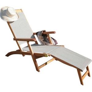 Chaise longue transat la redoute for Chaise longue en bois et toile