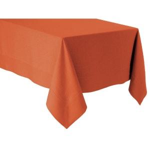 Nappe orange - lin déperlant - unie, brodée BLANC CERISE