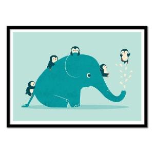Affiche art 50x70 cm Pingouin Elephant WALL EDITIONS