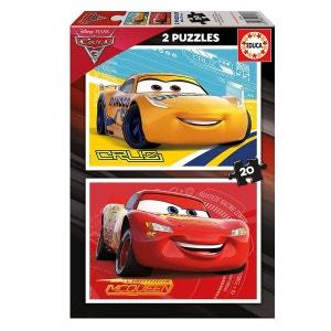 Puzzle 2 x 20 pièces - Cars 3 : Flash McQueen et Cruz Ramirez EDUCA