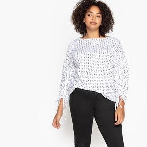 T- shirt met stippenprint, ronde hals en lange mouwen