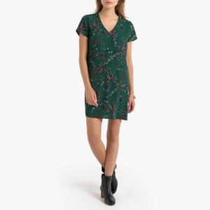 Rechte jurk met bloemmotief en korte mouwen