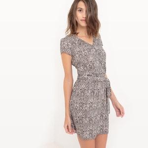Short-Sleeved Printed Wrapover Dress LE TEMPS DES CERISES