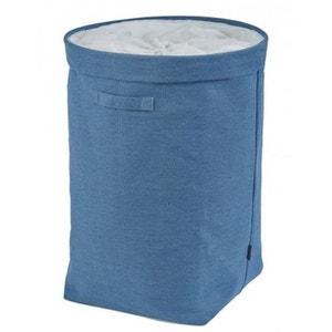 Grand Panier à Linge Bleu Denim en Polyester - Haut. 60cm WADIGA