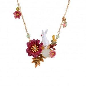 Les Néréides - Collier petit lapin sur verre taillé, fleurs et pampilles LES NEREIDES