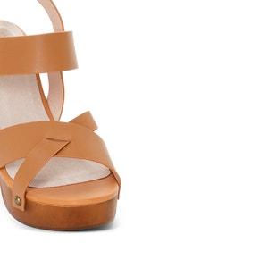 Sandali pelle zeppa effetto legno R studio