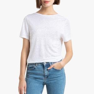T-shirt in zuiver linnen, afgerond decolleté achteraan