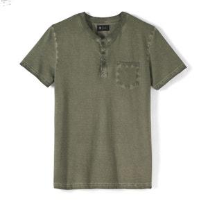 T-shirt com decote tunisino efeito used puro algodão R édition