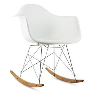 oneConcept Aurel Chaise à bascule design rétro bois de bouleau - blanc ONECONCEPT