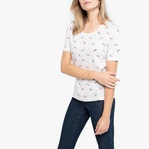 Bedrukt T-shirt met ronde hals, katoen & modal