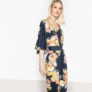 Robe imprimée fleurs, manches kimono La Redoute Collections