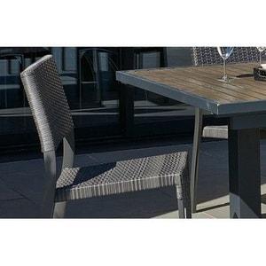 Chaise aluminium et résine tressée gris anthracite LE REVE CHEZ VOUS