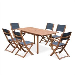 Salon de jardin en bois Almeria, table 120-180cm rectangulaire avec allonge ALICE S GARDEN