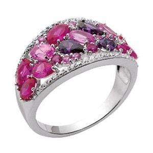 Bague Femme Anneau Serti Oxyde de Zirconium Camaieu Rose Violet Argent 925 SO CHIC BIJOUX